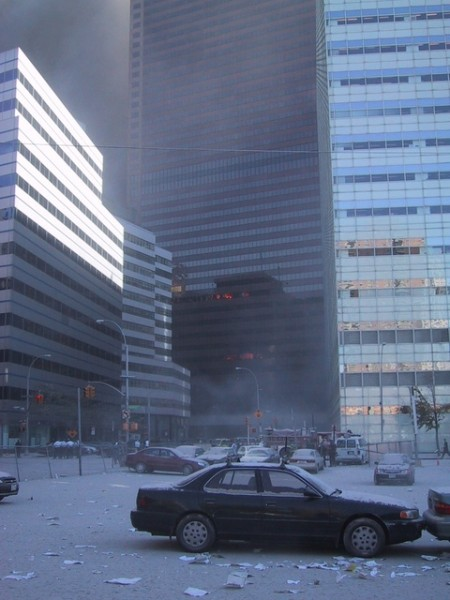 Note that while there are small, isolated fires on the 7th and 12th floors, the rest of the building's northern face is completely intact, including almost every window.