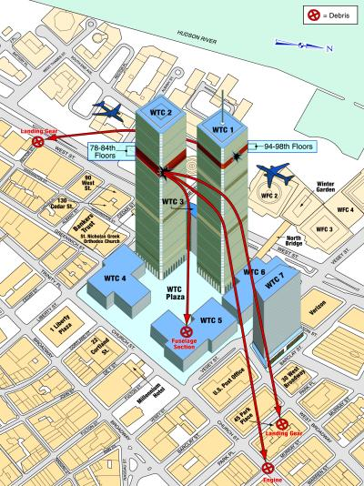 "Take note of the location of World Trade Center Building 7 in relation to the Twin Towers, World Trade Centers 4, 5 and 6, St. Nicholas Greek Orthodox Church, the Verizon Building, the direction of the impacts of Flight 11 and 175 and the locations of subsequently scattered plane debris. Given all of these factors, WORLD TRADE CENTER 7 DOES NOT STAND OUT AS BEING IN ANY MORE DANGER OF FULL DESTRUCTION THAN ANY OF THE OTHER BUILDINGS that are actually directly bordering the Twin Towers, let alone that it alone should nearly symmetrically ""collapse"" into its own footprint at at near free-fall speed."