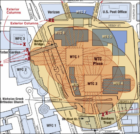 Note that the radius of the debris impact zones for the falling Twin Towers indicate that WTC 3, 4, 5, 6, WFC 2, the Bankers Trust Building and 90 West St. are in the most danger of receiving damage.