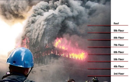Note that WTC5 appears to be fully-involved in fire. Also note that smoke billows out of a number of windows, as well as the entire roof. This observed damage DOES NOT result in a complete structural collapse of the entire building.