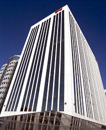The Key Bank Building, a 20-story steel-cored structure, was demolished with explosives on August 18, 2007.