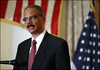 """Attorney General Eric H. Holder Jr. sought to reassure CIA employees that the government will not prosecute interrogators who followed legal advice."" (photo by Craig Ruttle – Associated Press)"