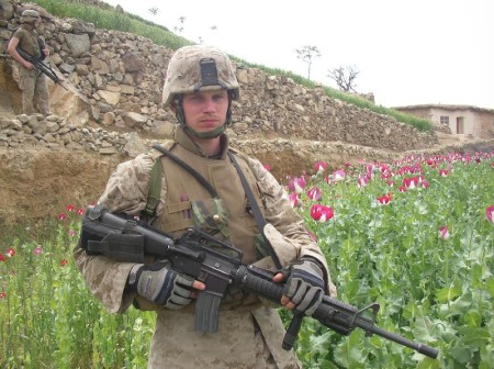 British Soldier Guarding Poppy Field in Afghanistan