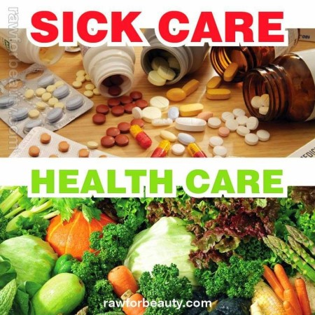 """Sick Care vs. Health Care"" (photo by RawforBeauty.com)"