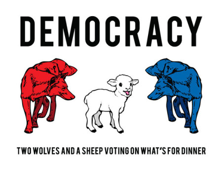 """Democracy: Two Wolves and a Sheep Voting on What's for Dinner"""
