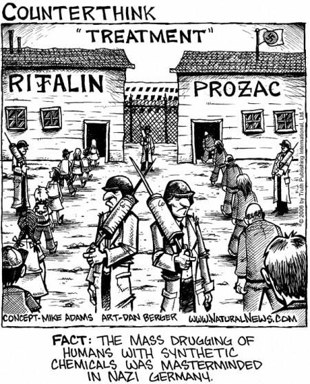 """""""Fact"""" The mass drugging of humans with synthetic chemicals was masterminded in Nazi Germany"""" (concept by Mike Adams, art by Dan Berger, NaturalNews.com)"""