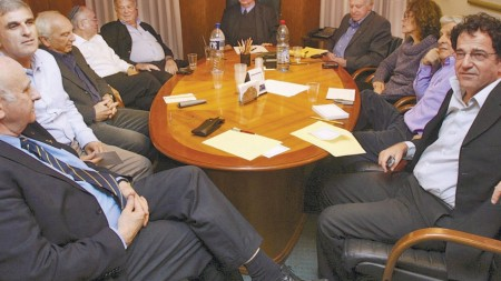 """Meeting of university heads, 2008: One woman, Prof. Rivka Carmi, third from right, no Arabs."""