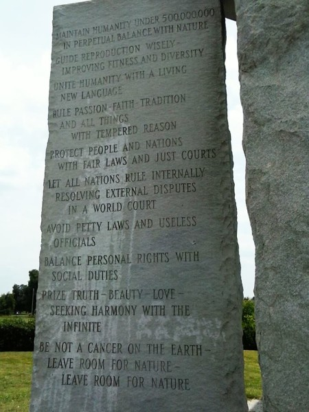 Georgia Guidestones – Erected in Elbert County, Georgia in 1979