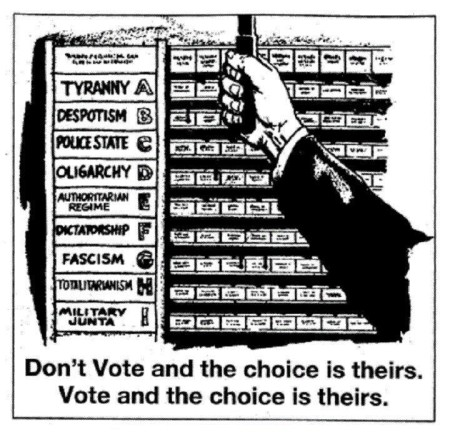"""Don't vote and the choice is theirs. Vote and the choice is theirs."""