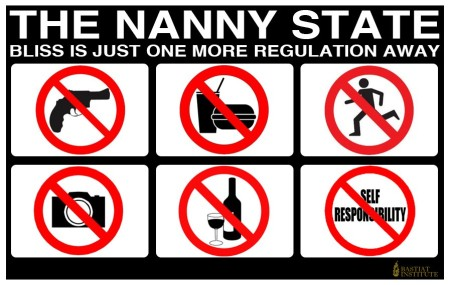 """The Nanny State: Bliss is just ONE more regulation away"" (artwork by Bastiat Institute)"