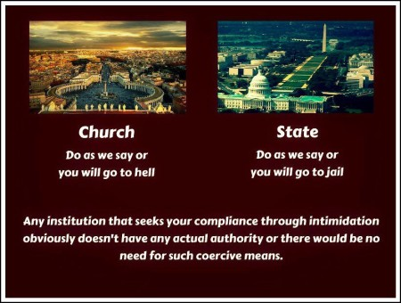 """Church: do as we say or you will go to hell. State: do as we say or you will go to jail. Any institution that seeks your compliance through intimidation obviously doesn't have any actual authority or there would be no need for such coercive means."""