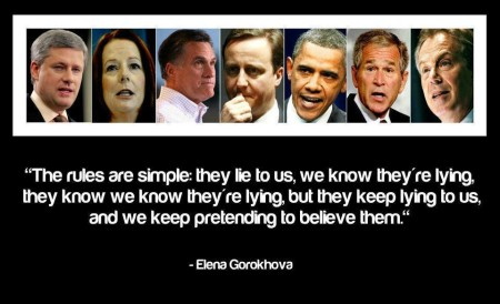 """The rules are simple: they lie to us, we know they're lying, they know we know they're lying, but they keep lying to us, and we keep pretending to believe them."" - Elena Gorokhova"