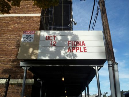 """Oct 12, Fiona Apple"""