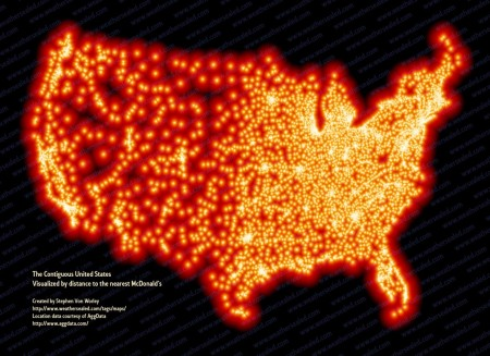 "Artist and scientist Stephen Von Worley created. ""The Contiguous United States Visualized by distance to nearest McDonald's,"" using data from AggData: http://www.huffingtonpost.com/2011/11/09/map-every-mcdonalds-us_n_1084045.html. (click here, or on artwork, to enlarge)"
