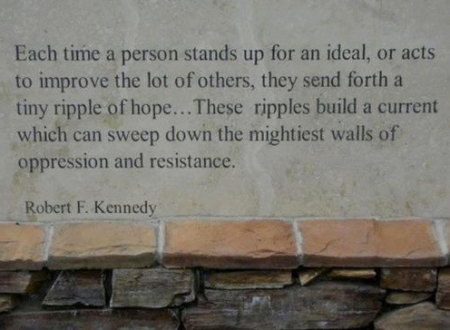 """Each time a person stands up for an ideal, or acts to improve the lot of others, they send forth a tiny ripple of hope... These ripples build a current which can sweep down the mightiest walls of oppression and resistance."" - Robert F. Kennedy"