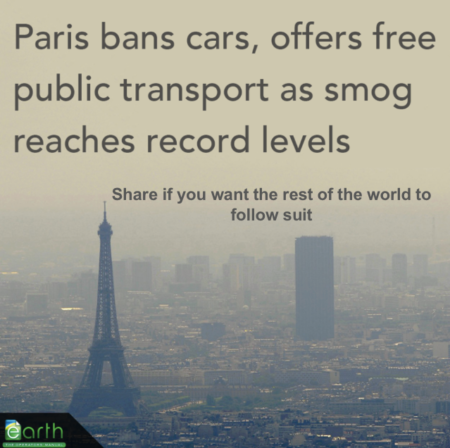 """Paris bans cars, offers free public transport as smog reaches record levelsShare if you want the rest of the world to follow suit"