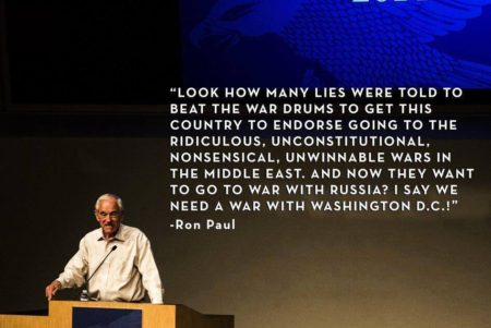"""Look how many lies were told to beat the war drums to get this country to endorse going to the ridiculous, unconstitutional, nonsensical, unwinnable wars in the Middle East. And, now they want to go to war with Russia? I say we need a war with Washington D.C.!"" - Ron Paul"