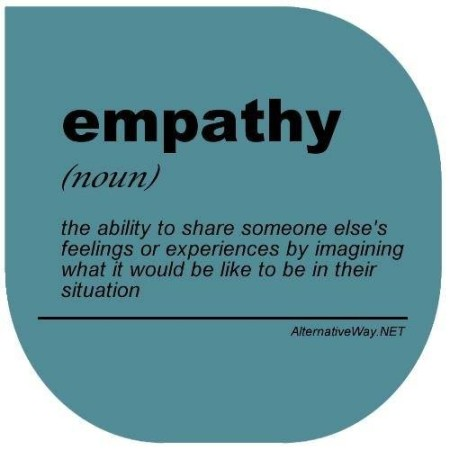 """Empathy (noun): the ability to share someone else's feelings or experiences by imagining what it would be like to be in their situation"""