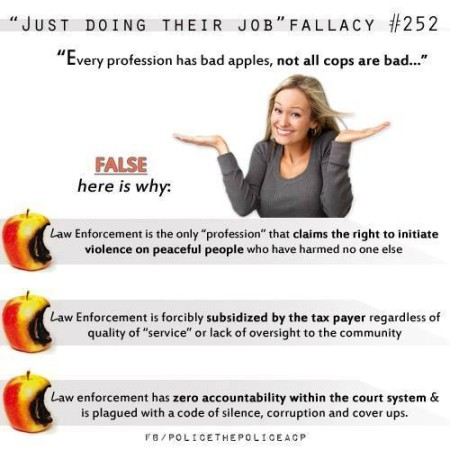 """'Just Doing Their Job' Fallacy #252: 'Every profession has bad apples, not all cops are bad...' False. Here is why: Law Enforcement is the only 'profession' that claims the right to initiate violence on peaceful people who have harmed no one else. Law Enforcement is forcibly subsidized by the tax payer regardless of quality of 'service' or lack of oversight to the community. Law enforcement has zero accountability within the court system & is plagued with a code of silence, corruption and cover ups."""