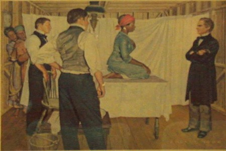 "#BlackHerstory: In the 19th century, the father of modern gynecology, J. Marion Sims, conducted his research experiments on enslaved Black women. Sims performed the invasive and torturous procedures without anesthesia. J. Marion Sims' justification for choosing not to anesthetize his test subjects was that he did not believe Black women felt pain at all. In an 1857 lecture, he stated that it was ""not painful enough to justify the trouble."""