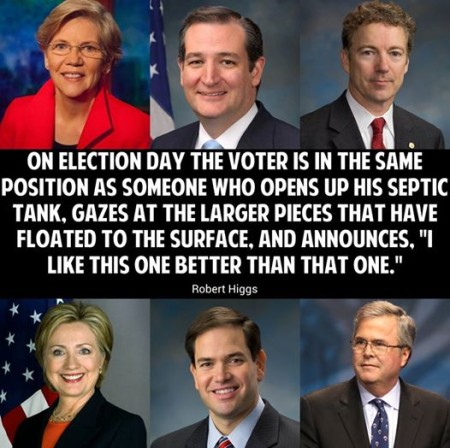 """On Election Day, the voter is in the same position as someone who opens up his septic tank, gazes at the larger pieces that have floated to the surface, and announces, 'I like this one better than that one'."" - Robert Higgs"