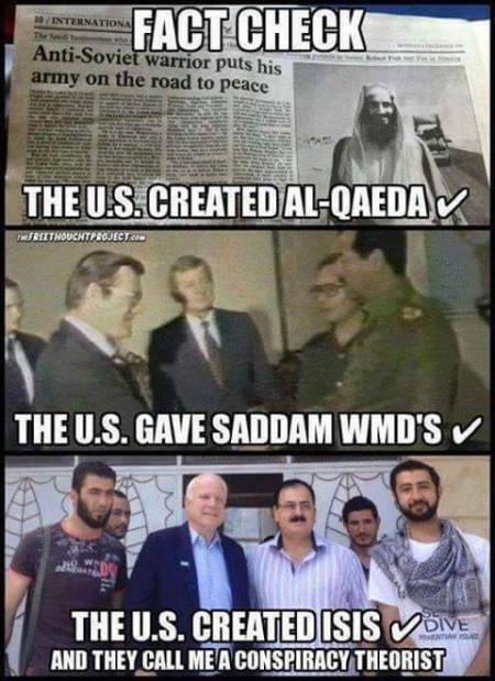 """Fact Check: The U.S. created Al-Qaeda. The U.S. gave Saddam WMDs. The U.S. created ISIS... And, they call me a conspiracy theorist."""