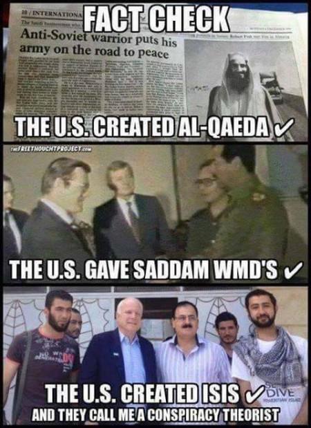 """Fact Check: The U.S. created Al-Qaeda. The U.S. gave Saddam WMDs. The U.S. created ISIS... And, they call me a conspiracy theorist."""