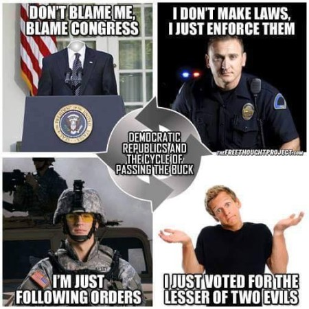"""Don't blame me, blame Congress. I don't make the laws; I just enforce them. I'm just following orders. I just voted for the lesser of two evils. - Democratic Republics and the cycle of passing the buck."""