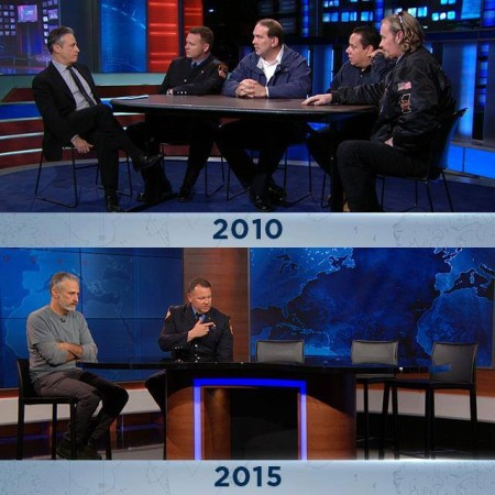 Five and a half years ago, Jon Stewart hosted a panel on The Daily Show with four 9/11 first responders to discuss the health impacts they face and why the Senate should pass the Zadroga Act. The panel reconvened on Monday to press for reauthorization of the Zadroga Act now that it has lapsed - and of the four 9/11 first responders on the panel, two were now too ill to participate and one has passed away...