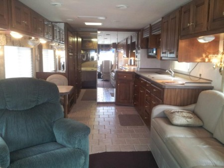 Inside view of my family's 38-foot motor-home