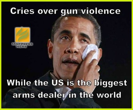 """Cries over gun violence... while the US is the biggest arms dealer in the world"""