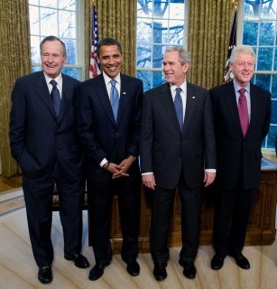 George W. Bush, Barack Obama, George H.W. Bush and Bill Clinton
