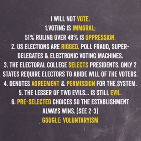 """I will not vote. 1. Voting is immoral; 51% ruling over 49% is oppression. 2. US elections are rigged. Poll fraud, super-delegates & electronic voting machines. 3. The electoral college selects presidents. Only 2 states require electors to abide by the will of the voters. 4. Denotes agreement & permission for the system. 5. The lesser of two evils... is still evil. 6. Pre-selected choices so the establishment always wins (see 2-3). Google: Voluntaryism"""