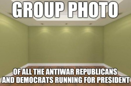 """Group photo of all the anti-war Republican and Democrats running for president"""