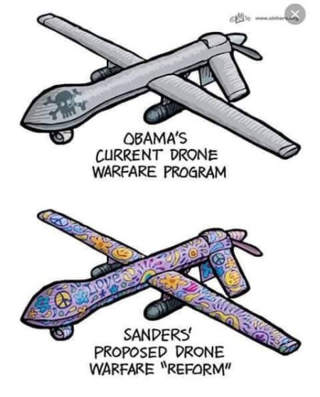 """""""Obama's current drone warfare program. Sanders' proposed drone warfare 'reform'"""" (Artwork originally located here, where it was posted by the Facebook page, """"We Are the Individuals"""")"""