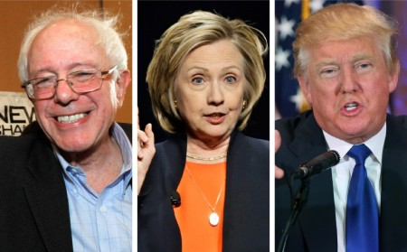 Bernie Sanders, Hillary Clinton, and Donald Trump