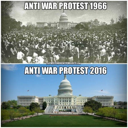 """Anti-war protests 1966 Anti-war protests 2016"""