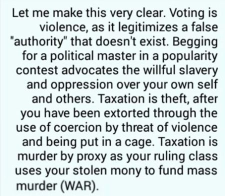 """Let me make this very clear. Voting is violence, as it legitimizes a false 'authority' that doesn't exist. Begging for a political master in a popularity contest advocates the willful slavery and oppression over your own self and others. Taxation is theft, after you have been extorted through the use of coercion by threat of violence and being put in a cage. Taxation is murder by proxy as your ruling class uses your stolen money to fund mass murder (WAR)."""