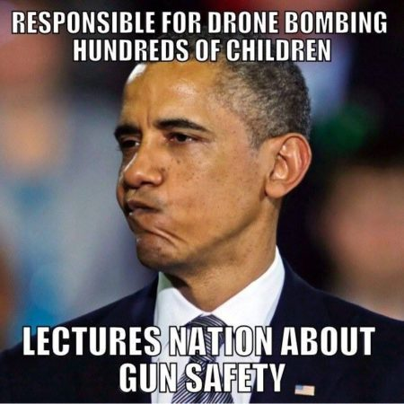 """Responsible for drone bombing hundreds of children Lectures Nation About Gun Safety"""