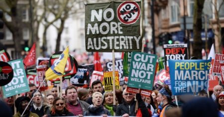 An anti-austerity demonstration that took place in central London in April 2016