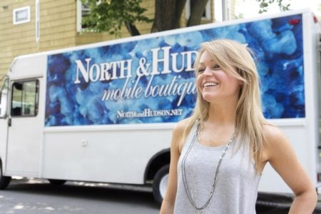 "Rebecca Mueller, who owns the mobile fashion boutique, ""North & Hudson"""