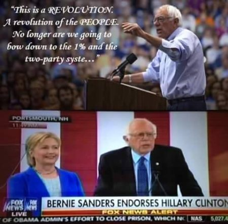 """""""'This is a REVOLUTION. A revolution of the PEOPLE. No long are we going to bow down to the 15 and the two-party syste...' Bernie Sanders endorses Hillary Clinton"""""""