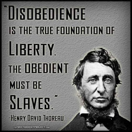 """Disobedience is the true foundation of liberty. The obedient must be slaves."" - Henry David Thoreau"