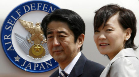 Japan's Prime Minister, Shinzō Abe, with his wife, Akie Abe