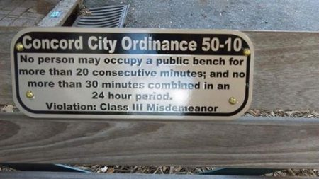 """Concord City Ordinance 50-10: No person may occupy a public bench for more than 20 consecutive minutes; and no more than 30 minutes combined for a 24 hour period. Violation: Class III Misdemeanor"""