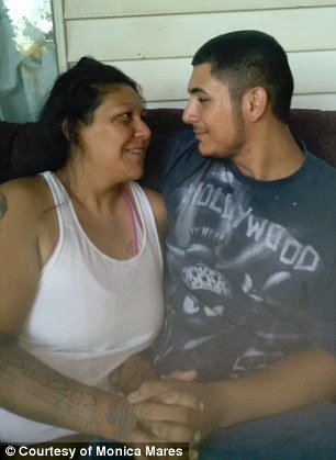 Monica Mares, 36, and her son Caleb Peterson, 19
