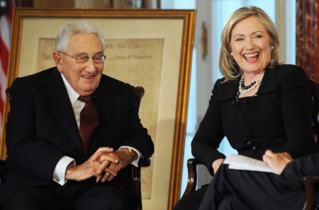 Hillary Clinton, when U.S. Secretary of State, and former Secretary of State, Henry Kissinger