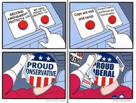 """""""Second amendment will protect us... (or) We need police to protect us? *Proud Conservative* Cops are evil and racist... (or) You don't need a gun because you have the police? *Proud Liberal*"""""""