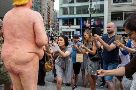 Nude Donald Trump statue located in Union Square Park, NYC