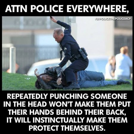 """Attn police everywhere, repeatedly punching someone in the head won't make them put their hands behind their back; it will instinctually make them protect themselves."""